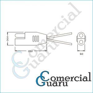 Chicote conector plugue polarizado 2 vias