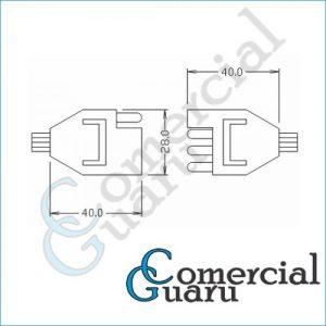 Chicote conector plugue polarizado 4 vias
